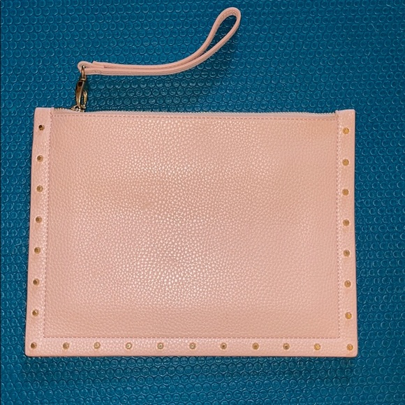 Light pink with gold rivets clutch/wristlet